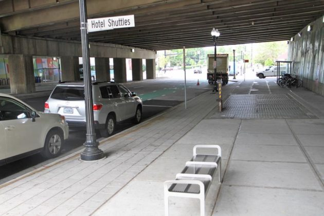 The Crystal City Multimodal Center includes a new drop-off zone for shuttle buses