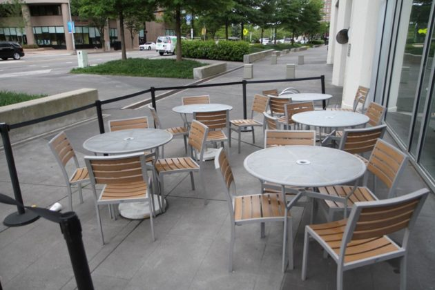 Patio seating outside the now-closed KBQ