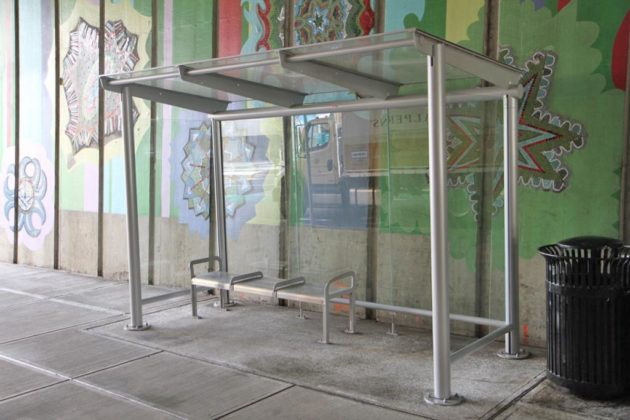 One of the new bus shelters at the center