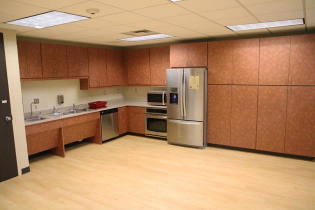 The center's kitchen has new appliances and storage