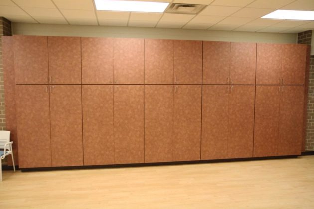 The main room has new storage, floor and ceiling as well as new A/V equipment