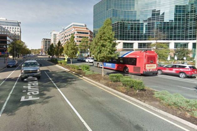 Road median along Fairfax Drive (photo via Google Maps)