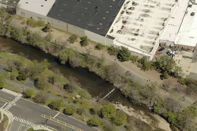 An aerial view of the existing Shirlington Dog Park