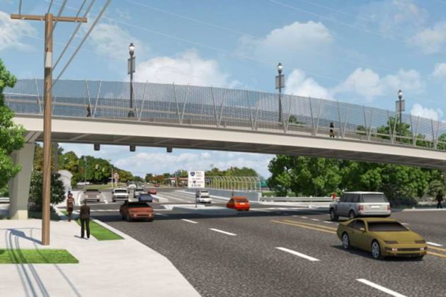The Lee Highway pedestrian bridge is nearing its final design (image via VDOT)