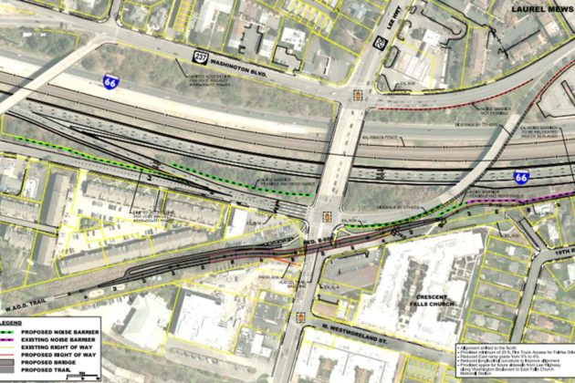 The W&OD trail will be rerouted slightly to accommodate the new bridge (image via VDOT)