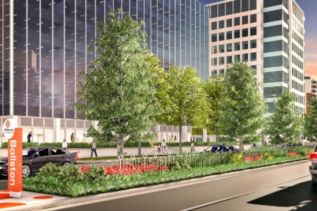 Rendering of revamped road medians in Ballston (via Ballston BID)