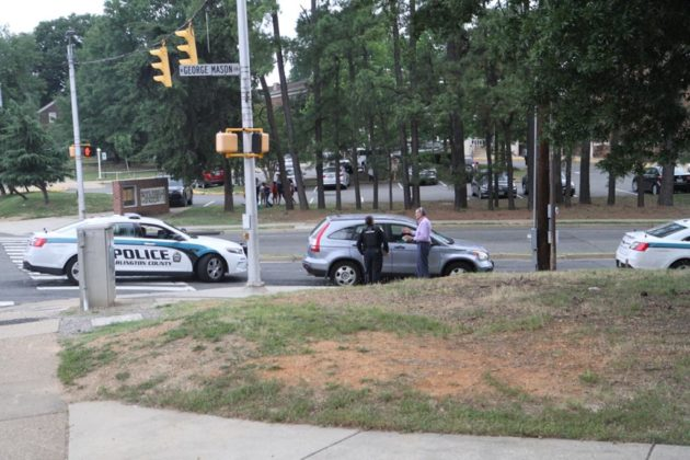 Police taking witness statements at Barrett pedestrian crash