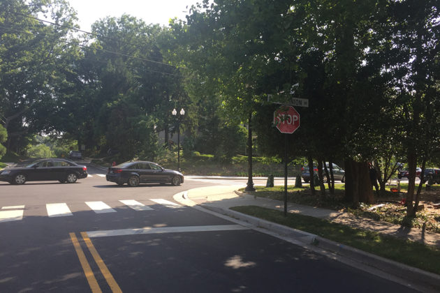 The intersection of Old Dominion Drive and Little Falls Road