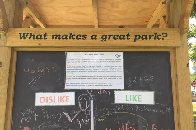 Park users could write suggestions for future uses on a board nearby