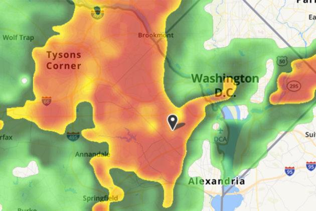 Weather radar at 3:45 p.m. on 6/19/17 (via Weather.com)