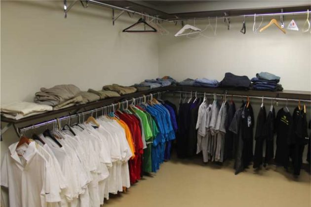 The clothing closet at the center.