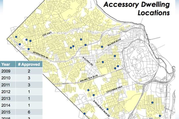 The location of the 20 approved ADUs in Arlington (image via county presentation)