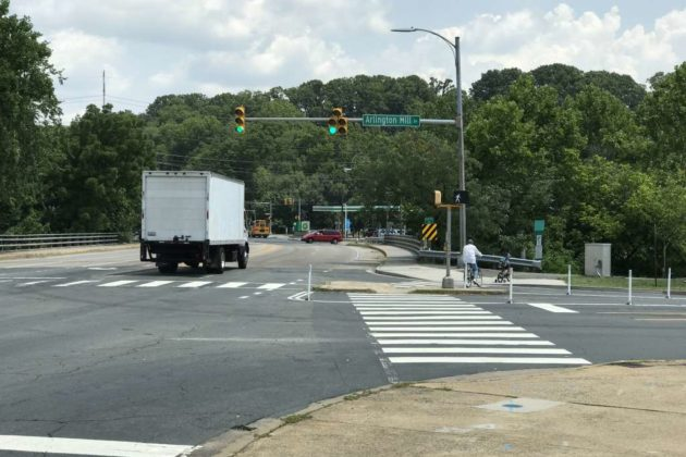 Reconfigured intersection of S. Walter Reed Drive and Arlington Mill Drive