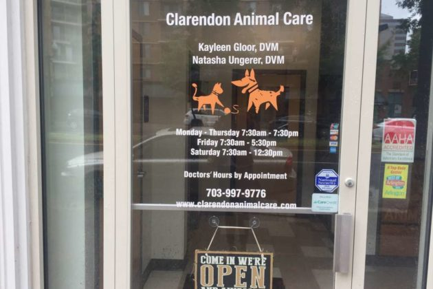 The current entrance to Clarendon Animal Care