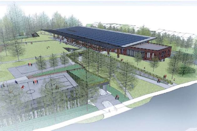 The proposed Lubber Run Community Center from the southeast