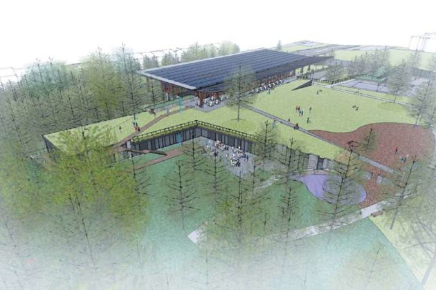 The proposed Lubber Run Community Center from the west