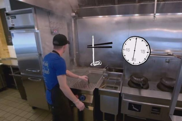The virtual reality teaching trainees to make perfect noodles.