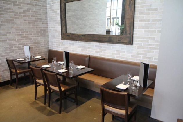 A side area with removable booths for Sunday brunch