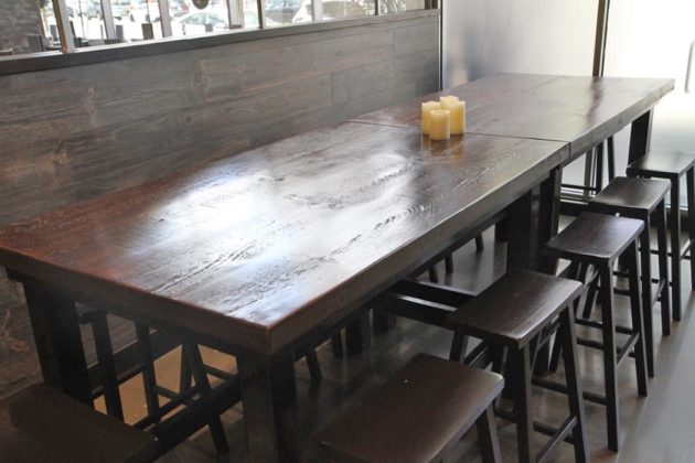 A communal table at Stageplate Bistro