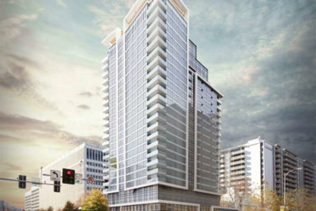The County Board approved a 22-story apartment building (image via Lowe Enterprises)