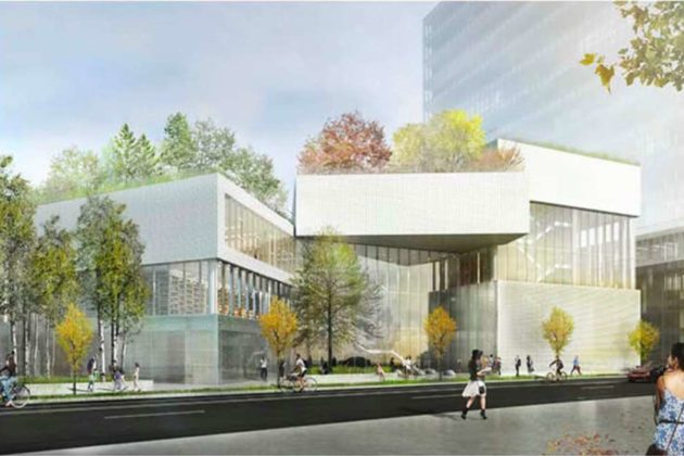 Exterior rendering of future home of H-B Woodlawn in Rosslyn (Via APS)