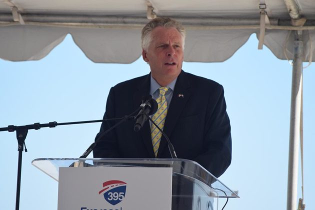 Gov. Terry McAuliffe (D) gives remarks at the ceremony