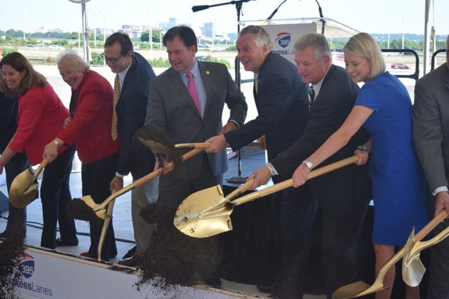 Gov. Terry McAuliffe and other elected officials break ground on the I-395 Express Lanes