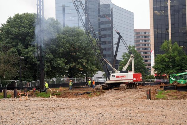 Crews were beginning to put in foundations for the new building