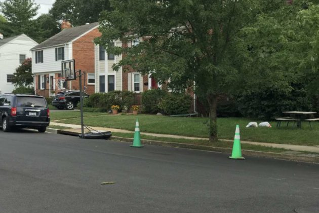 Cones placed along street in Barcroft where vandalism took place