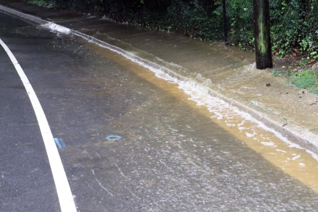 Minor flooding along Military Road