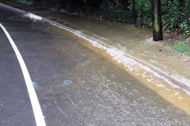 Minor flooding along Military Road