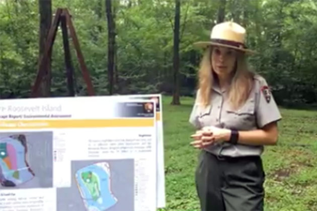 Simone Monteleone, chief of resource management at the GW Parkway, discusses the plans (photo via Facebook)
