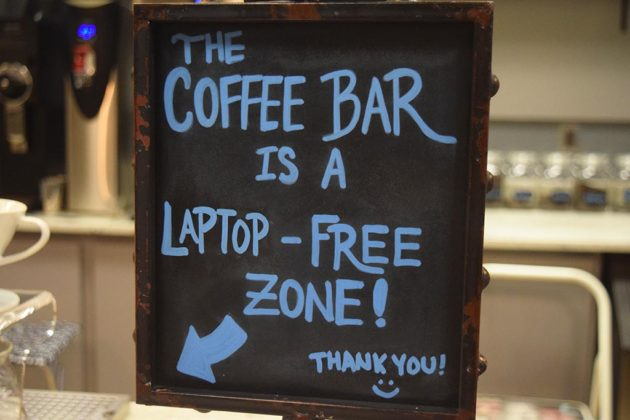 The cafe's coffee bar serves pour-over coffee and has a no laptop policy