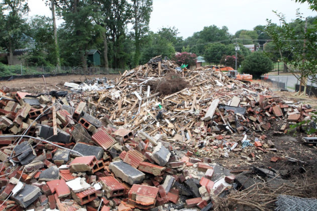 Demolition in Westover at 10th Road N. and N. Kennebec Street