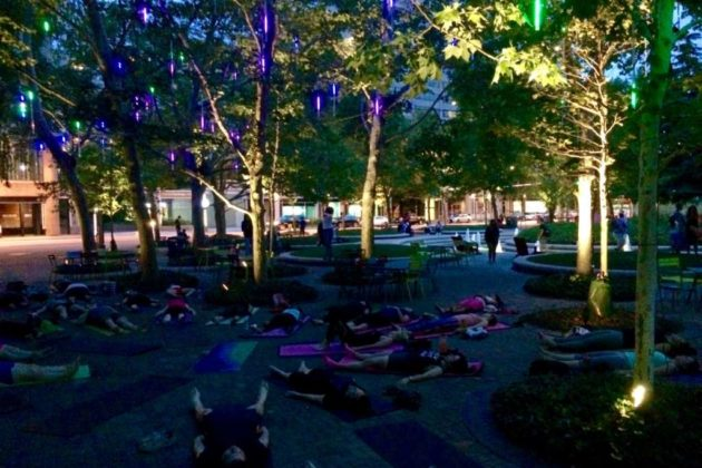 """Glow Yoga"" is one of several themes for the Sunday night yoga classes"