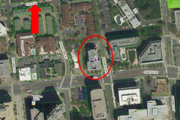 The courtyard is behind the Berkeley at 1000 N. Randolph Street (via county presentation)