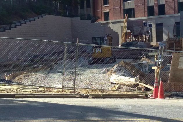 Work continues on the hotel's entrance from N. Quinn Street
