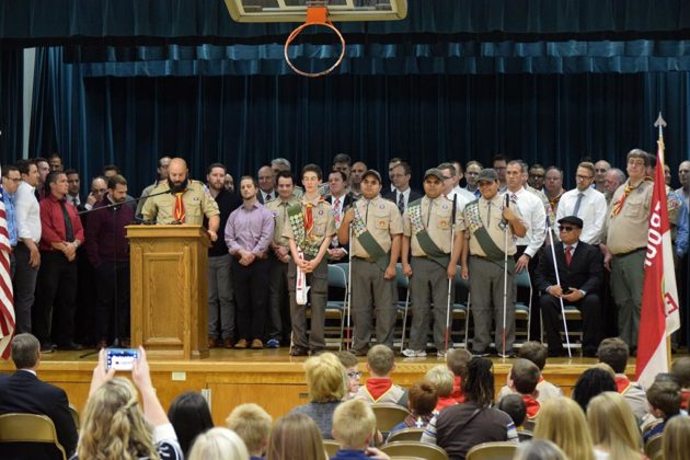 The Cantos brothers are joined on stage by fellow Eagle Scouts
