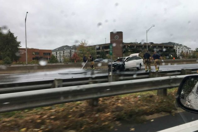 Car fire and closures on I-395 (photo courtesy Eric Davis)
