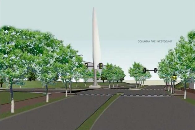 The sculpture from westbound Columbia Pike (image via Arlington County)