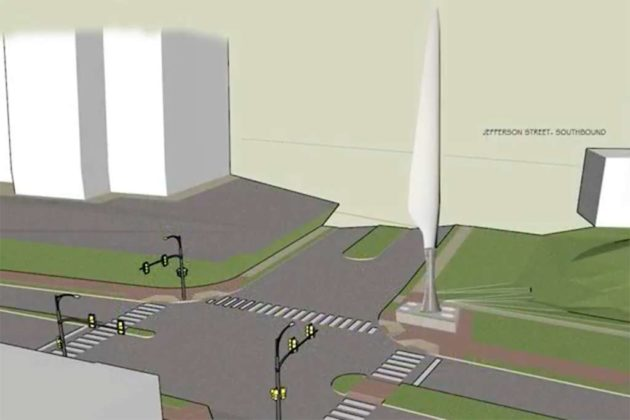 The sculpture from S. Jefferson Street (image via Arlington County)