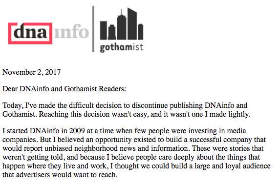 Part of the letter posted on all Gothamist sites