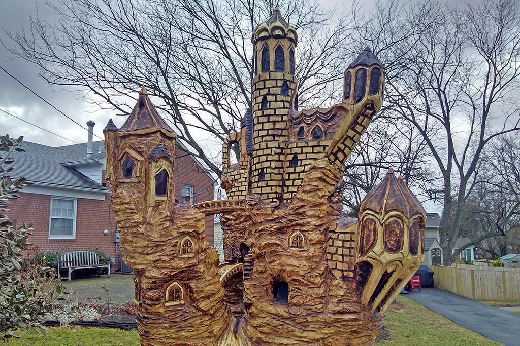 Castle Carved Out Of Tree Trunk Outside East Falls Church