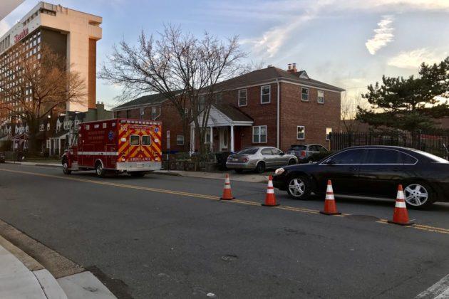 Ambulances leaving hazmat situation at Henderson Hall