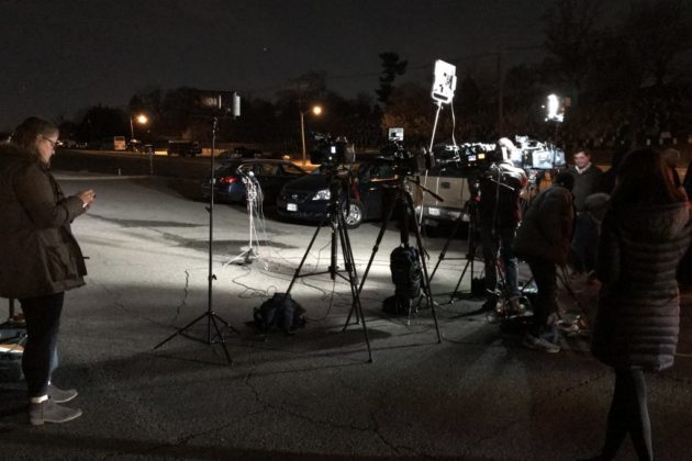 Media gathered for a press conference near the Air Force Memorial