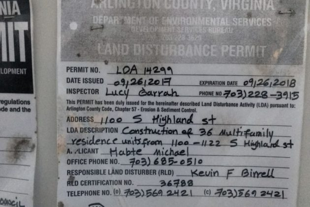 Permits for S. Highland Street construction area.