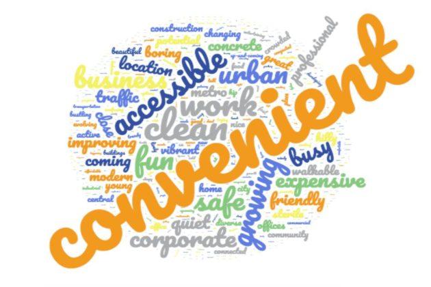 Word bubble from Rosslyn BID survey results