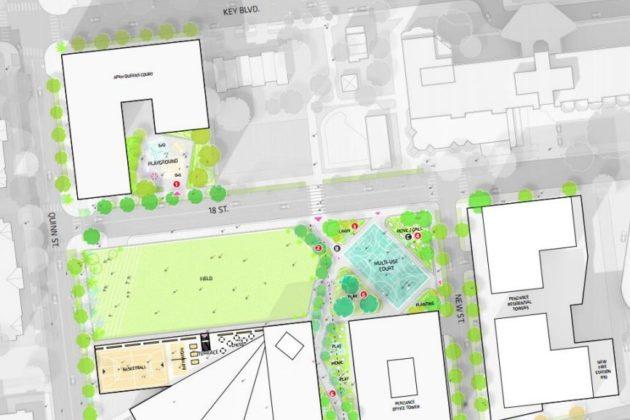 Map showing Queens Court development, Rosslyn Highlands Park and Wilson School