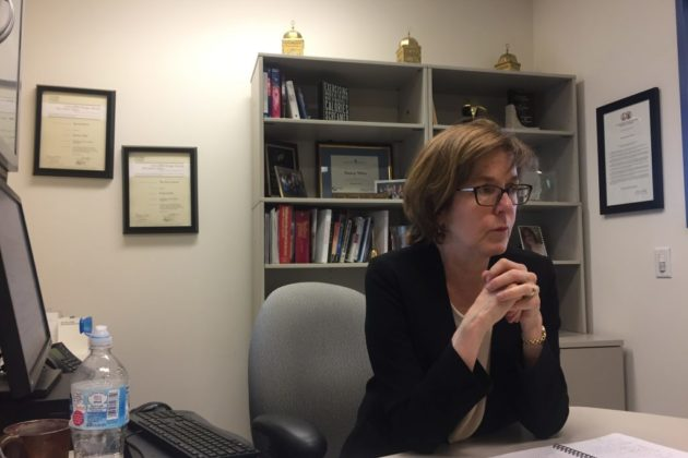 Nancy White in her office at the Arlington Free Clinic