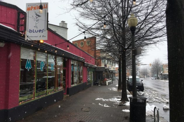 Mexicali Blue and restaurants in Clarendon in the snow